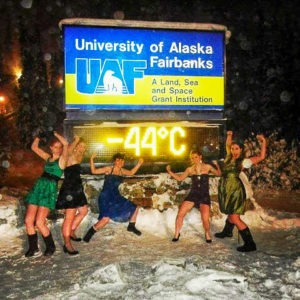 Five college students in dresses when it's -44 degrees Celsius